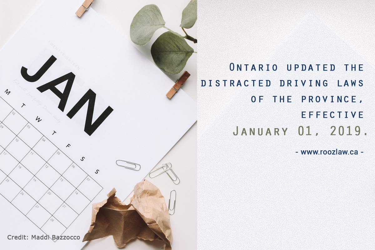 Ontario updated distracted driving laws effective January 01, 2019